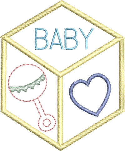 Baby Block Outline - 4x4 | Products | SWAK Embroidery
