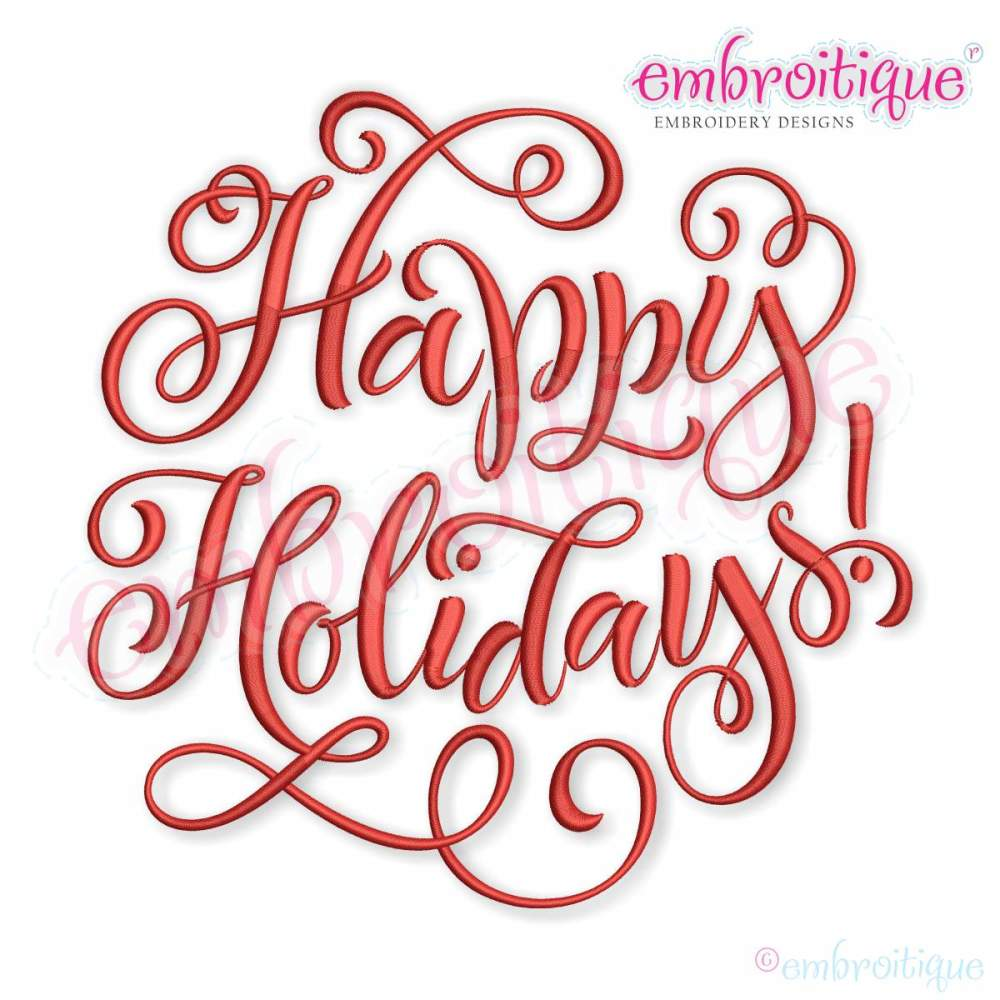 Happy Holidays Calligraphy Circle 8 Sizes Products