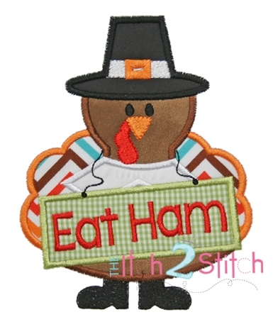 Turkey Eat Ham Applique  4 Sizes  Products  SWAK