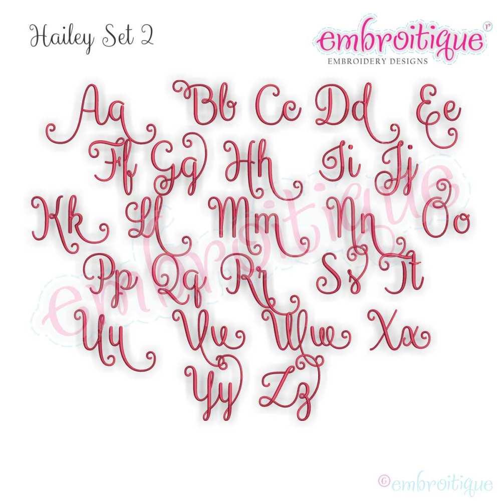 Hailey Monogram Set 2 Curly Swirly Calligraphy