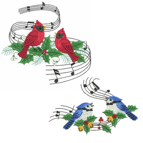 Winter Musical Birds Set, 10 Designs - 3 Sizes! - Products