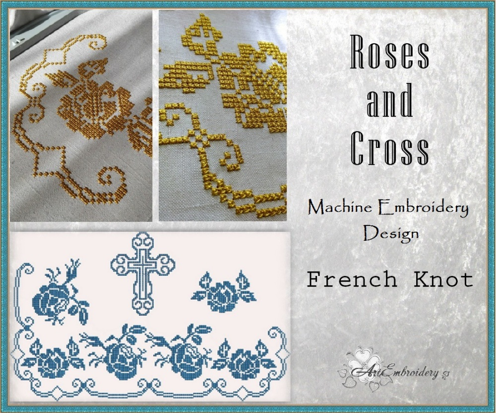 Roses and cross french knot set products swak embroidery
