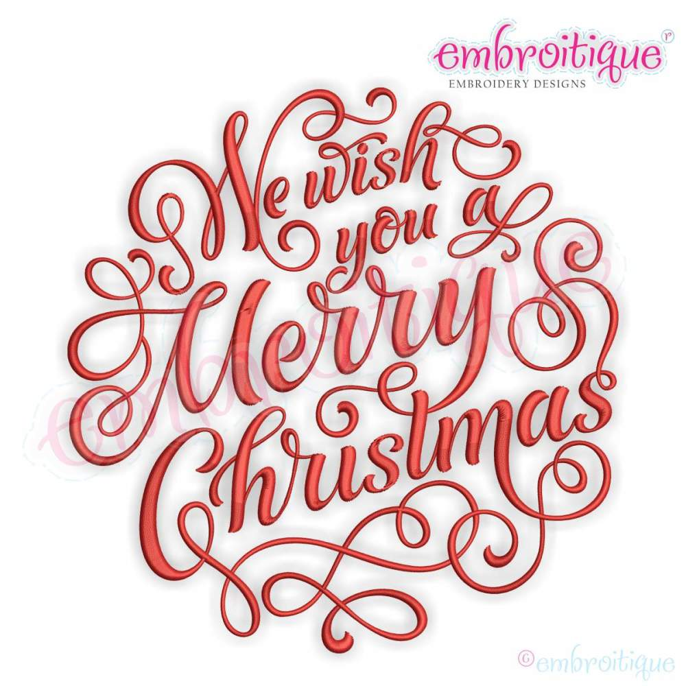 we wish you a merry christmas calligraphy circle 10 sizes