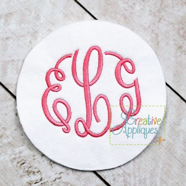 Elegant Circle Monogram Font 6 Sizes Products Swak Embroidery
