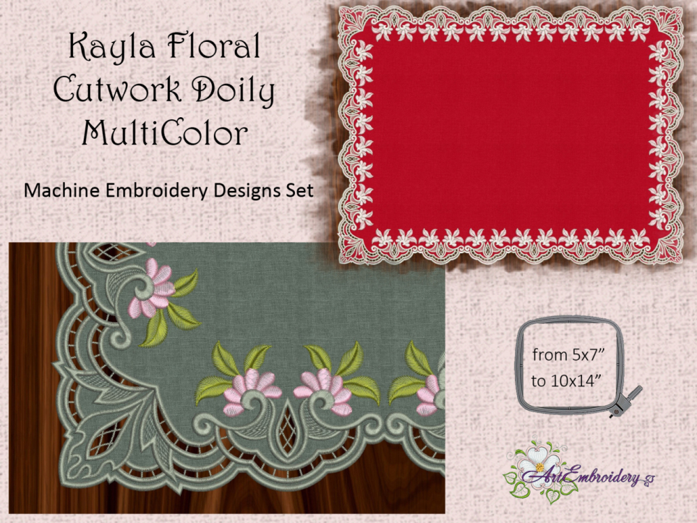 Kayla Floral Cutwork Doily Multi Color Products Swak Embroidery