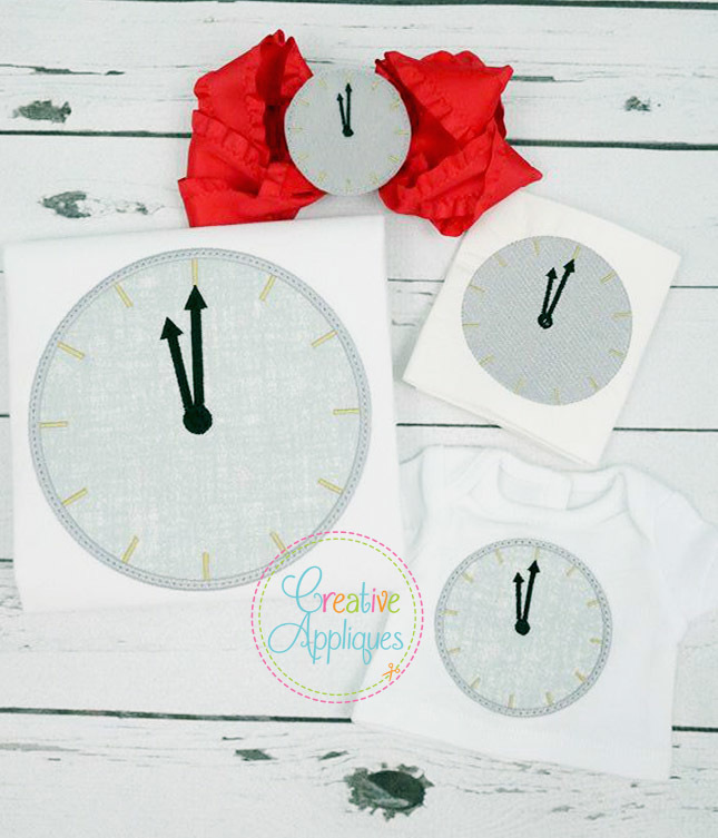 New Year\'s Clock Applique, Miniature and Feltie Set - Products ...