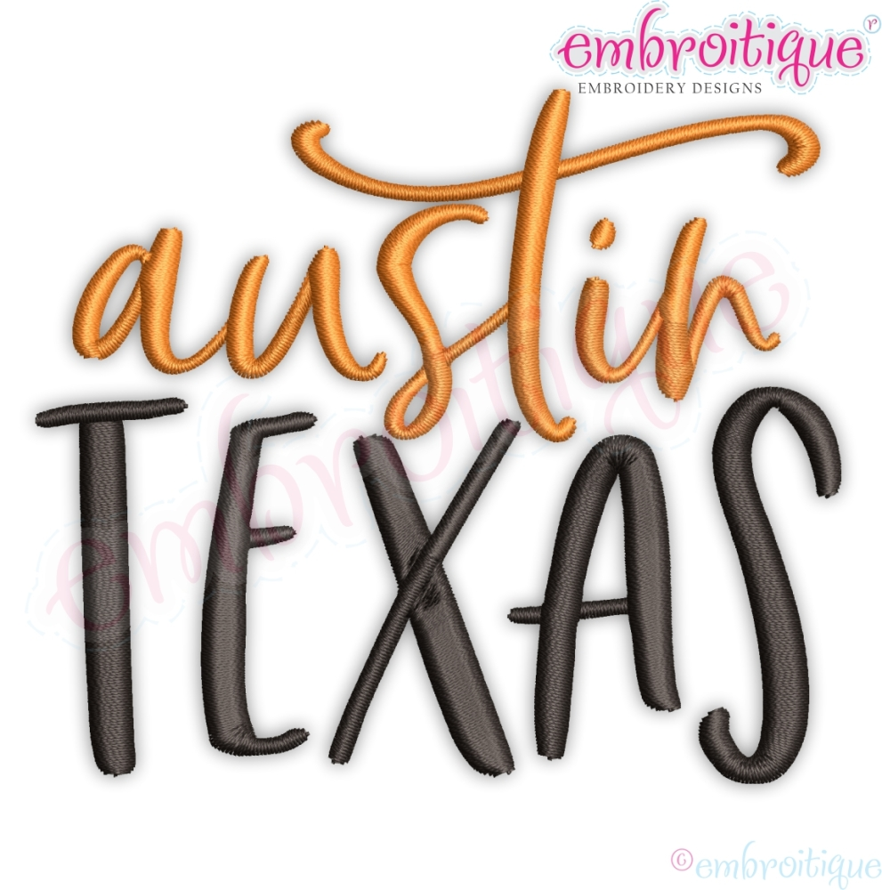 Austin Texas Calligraphy 9 Sizes Products Swak Embroidery