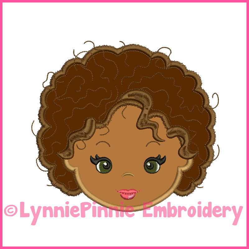 Natural Curly Hair Cutie Girl Applique 4 Sizes Products Swak