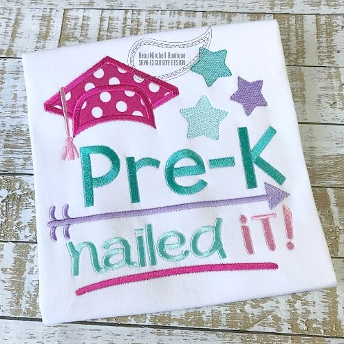 Pre K Nailed It Applique 4 Sizes Products Swak Embroidery