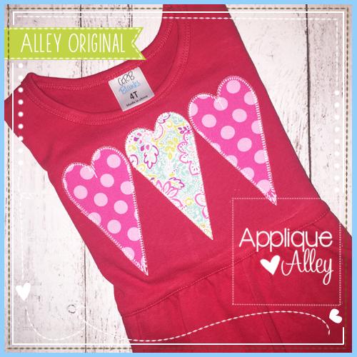 Blanket Stitch Skinny Heart Trio - 6 Sizes! - Products