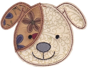 Cute animal face applique dog 2 sizes! products swak embroidery
