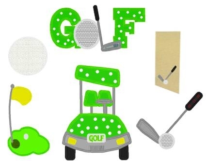 Golf Applique Set 6 Designs 3 Sizes Products Swak Embroidery