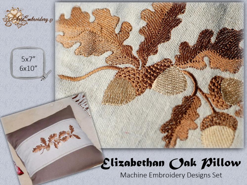 Elizabethan Oak Pillow Set Products Swak Embroidery