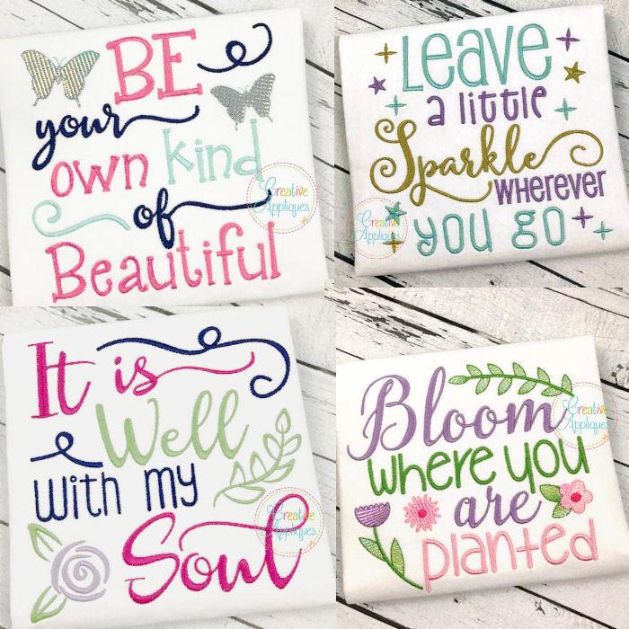 Inspirational sayings set designs sizes