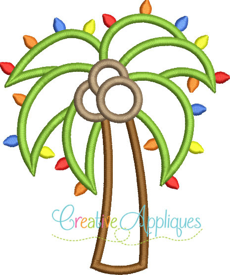 Christmas Palm Tree With Lights Applique 4 Sizes Products