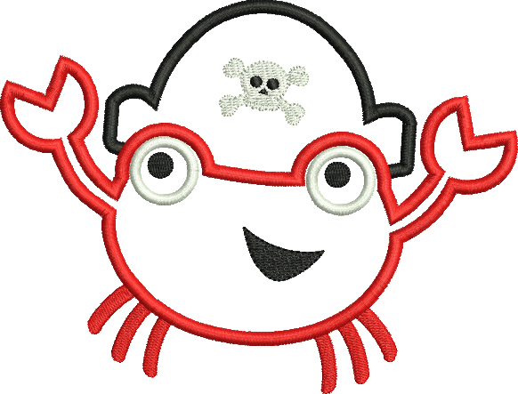 pirate crab applique 3 sizes products swak embroidery